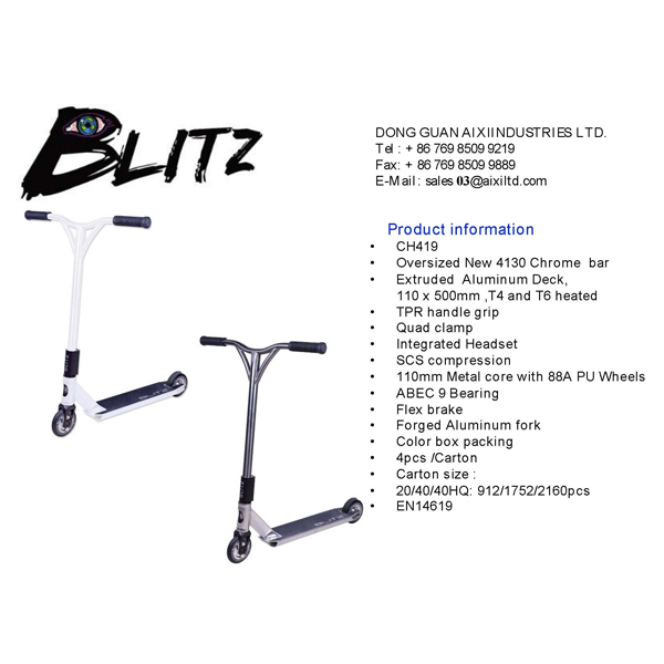 High Quality Stunt Scooter Blitz Brand Ch-419 Scs Compression ...