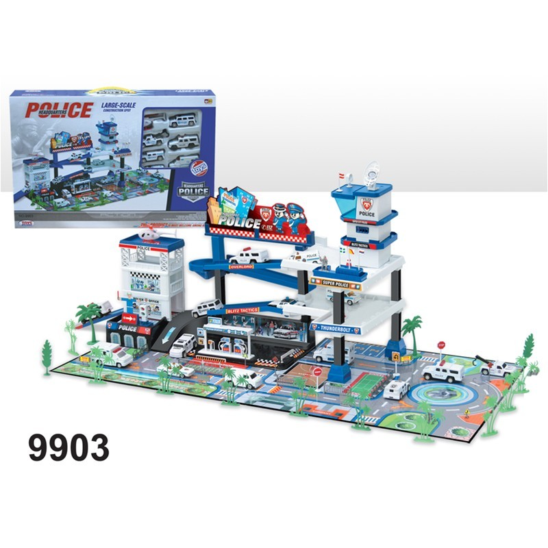 Hot Plastic Police station Parking Lot Toys for Kids with die cars