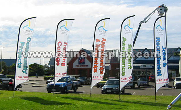 Outdoor Advertising Fiberglass Pole Feather Polyester Flag ...