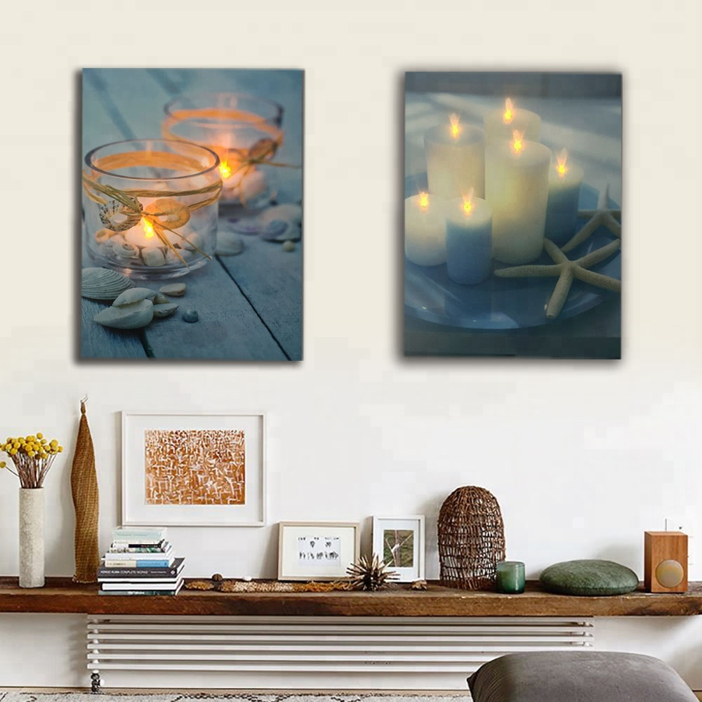 white candles with starfish seashell wall <strong>picture</strong> led flicking canvas art light up decor painting artwork with frame hot sale