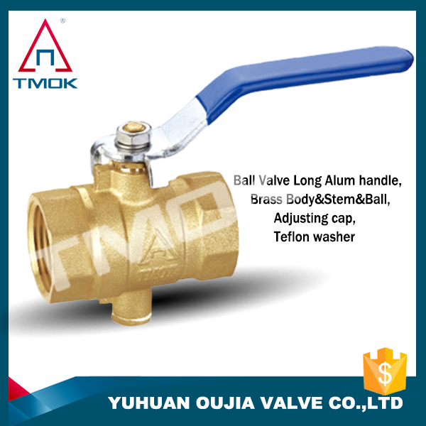 Brass ball valve temperature measuring CW617n/Hpb57-3 material lever handle BSP double female thread valve ball