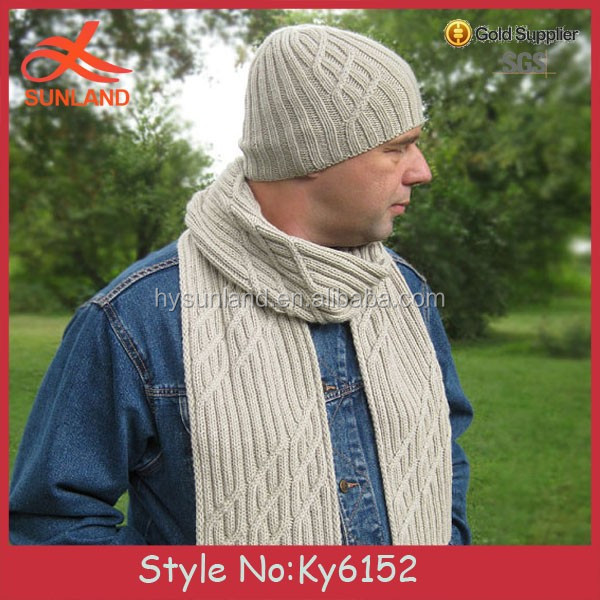 59c9a4bd038fa3 Whosale Men's cable knitted beanie hat and scarf sets long scarf winter  beanie chunky hat scarf