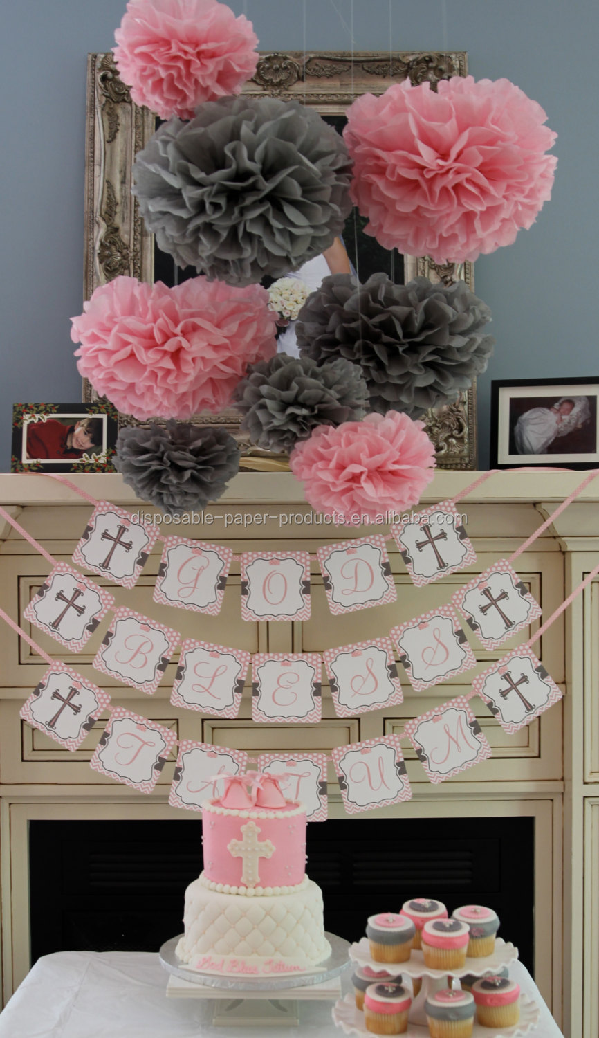 Pink theme party ideas tissue paper pom poms honeycomb for Dekoration fur babyparty
