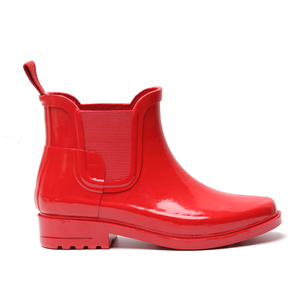 Wholesale fashion ankle red women rain boots with elastic