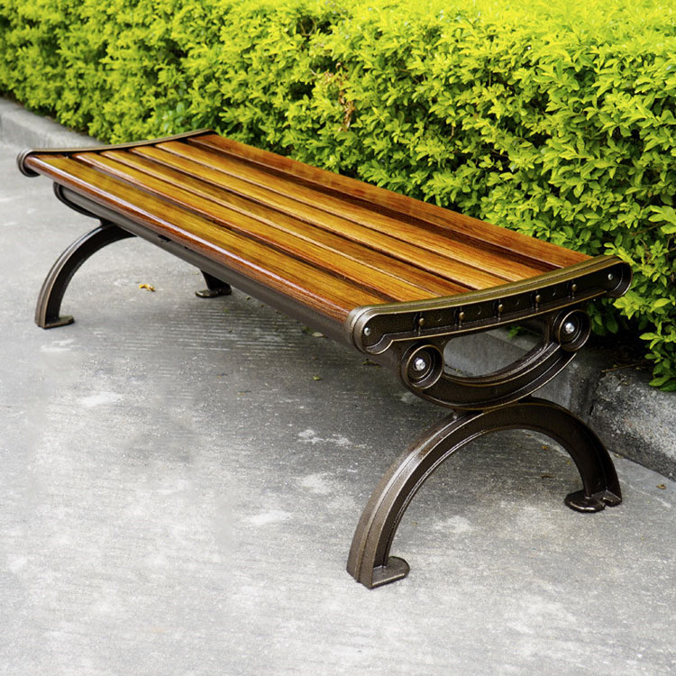 China Wholesale Cast Aluminum Outdoor Garden Wooden Bench Without Backrest