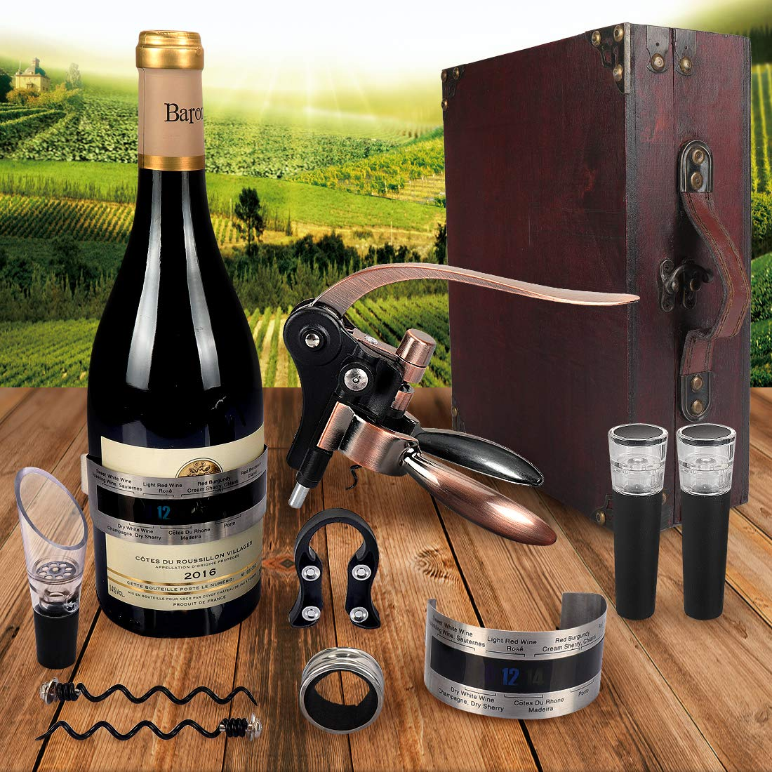 Antique wooden box rabbit wine corkscrew wine accessories gift set