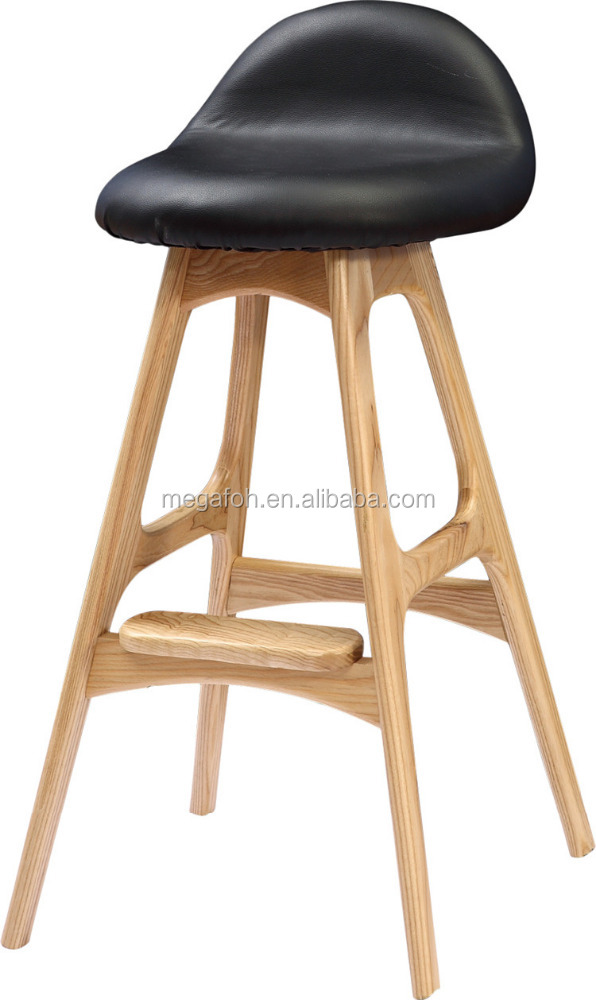 Modern pub/cafe/bar high chair stool in solid wood(FOH-BCA73)
