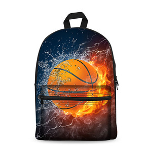 Back to School Durable Canvas Backpacks with Basketball Image for Boys