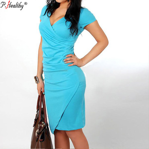 2018 European and American style burst hot sell sexy short sleeve solid V-neck pencil dress