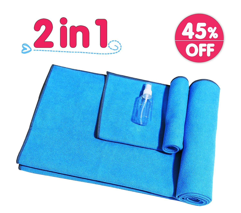 """Yoga Mat Towel-Microfiber 24"""" x 72"""" Hot Yoga Towel-Non Slip Sweat Absorbent Super Soft Extra Thick Hot Yoga Towel + Hand Towel Combo Set (2 in 1)"""