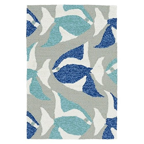D&H 2'x3' Aqua Blue Navy Blue Grey Seafish Sealife Printed Runner Rug, Indoor Outdoor Graphical Pattern Living Room Rectangle Carpet, Sea Beach Themed, Vibrant Fancy Color Soft Synthetic Material