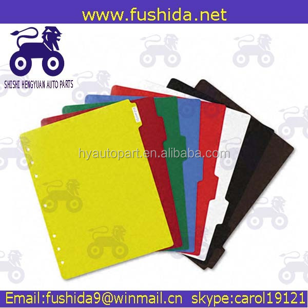 Hot selling A4 assorted color cardboard file dividers