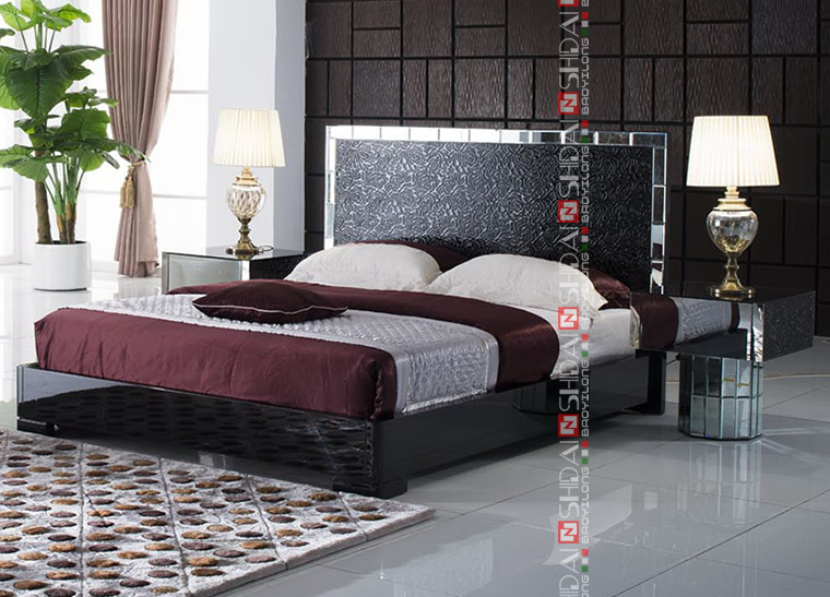 Modern latest high back designer bed modern black bedroom furniture modern pictures of wood - Bed desine double bed ...