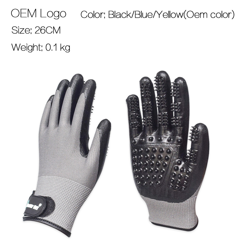 Roblionpet Groothandel aangepaste LOGO honden en katten haar kam hond grooming handschoen massage bad schone handschoenen