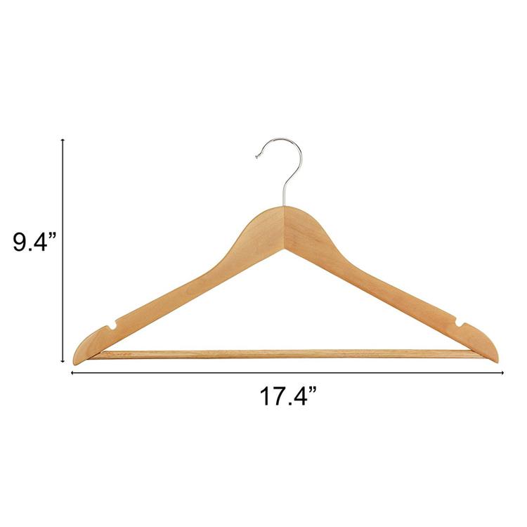 Guangxi fábrica personalizada al por mayor precio barato de bambú percha de madera de la ropa con la barra para la capa de la camisa