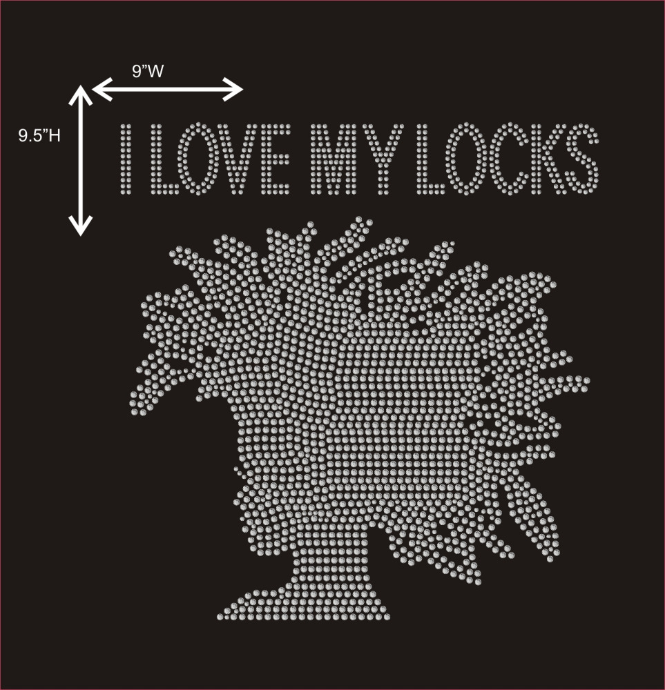 I Love My Locks Afro Lady Rhinestone Transfer Motif Iron on Hot Fix Designs