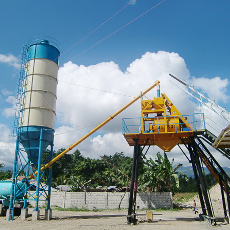 HZS25/HZS35 concrete plant with bolted cement silo
