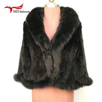 Knitted of natural mink shawl / scarf female unique mink phocho Novelty Free shipping # 10