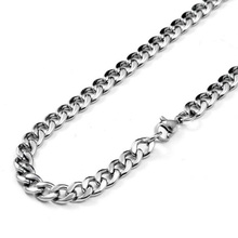 Olivia Stainless Steel Polished Chunky 7mm Curb Cuban Link Chain Men Necklace 18 Inch Silver Color hiphop Jewelry Chain