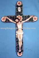 Polyresin cross with crucifix figurines decoration craft