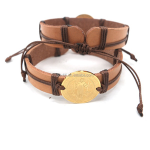 Wholesales Stainless Steel Religious San Benito Medal Saint St Benedict Cross Brown Leather Pulsera Medalla Catholic Bracelet