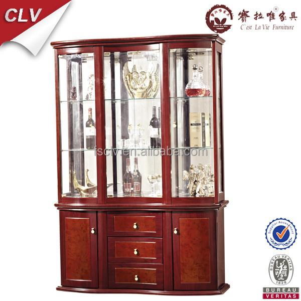 Vintage Furniture Glass Living Room Showcase Design Wood