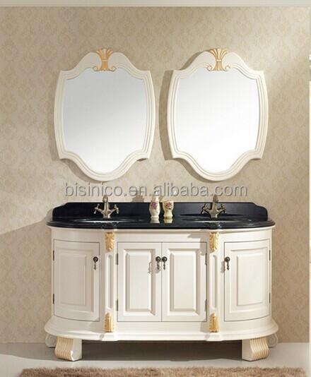 Vintage Wood Carved Bathroom Vanity With Double Sinks, Victorian Style  Wooden Bathroom Furniture Set,