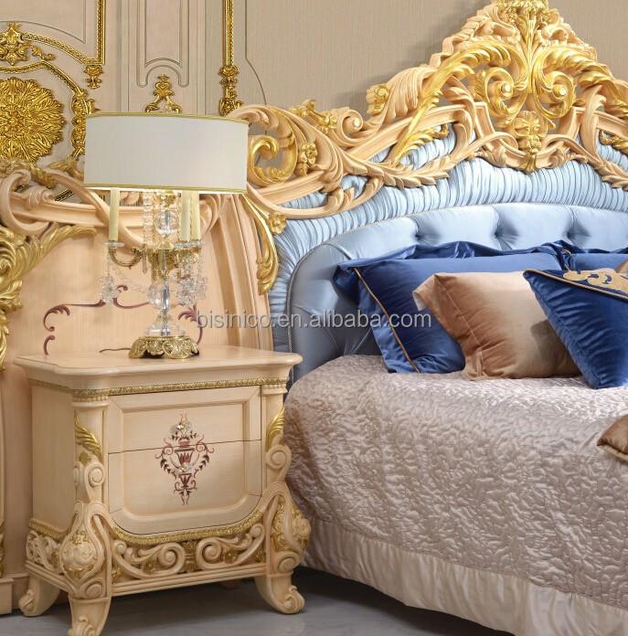 Muebles de dormitorio de estilo italiano de lujo hoja de oro ...
