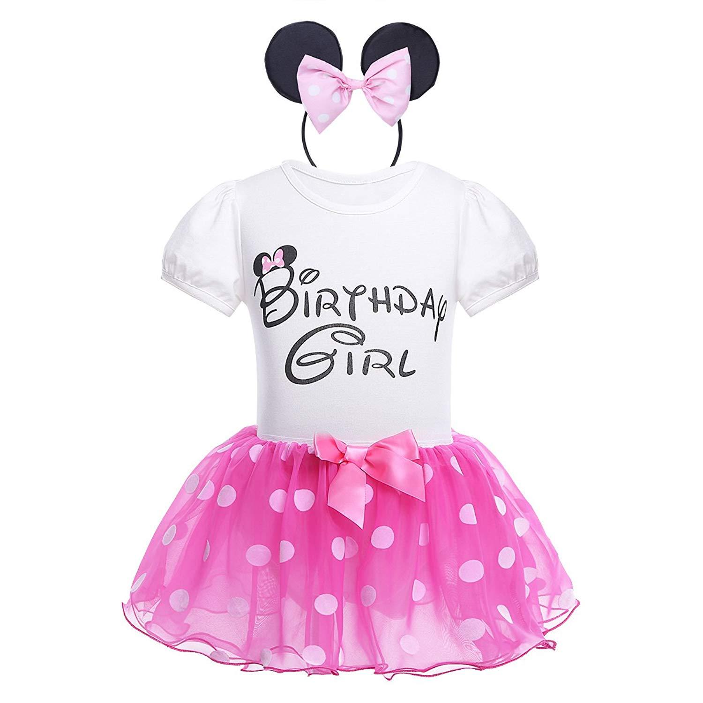 Freebily 3pcs Infant Baby Girls Birthday T Shirt with Polka Dot Tutu And Headband Outfits Set