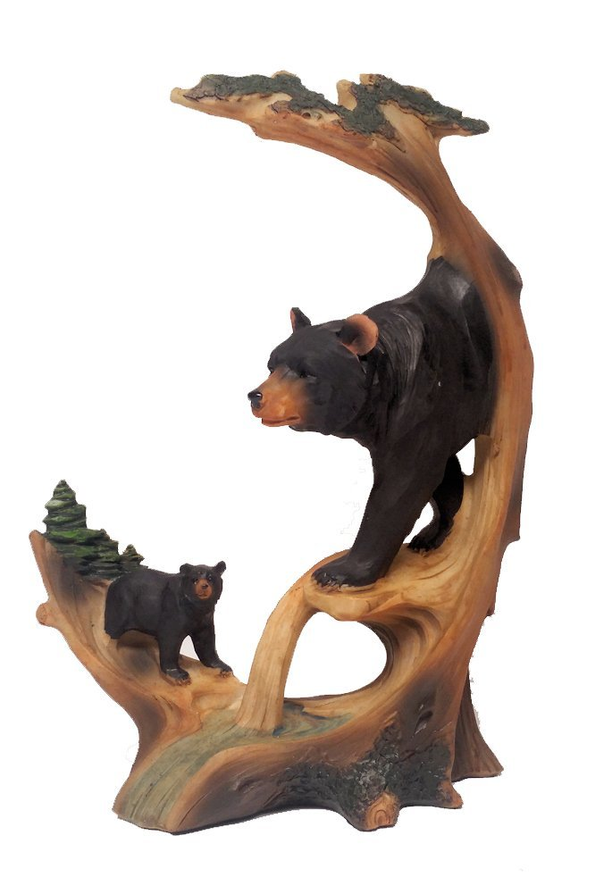 Get Quotations Black Bear Decor Carved Log Look Figurine Of And Cub 9