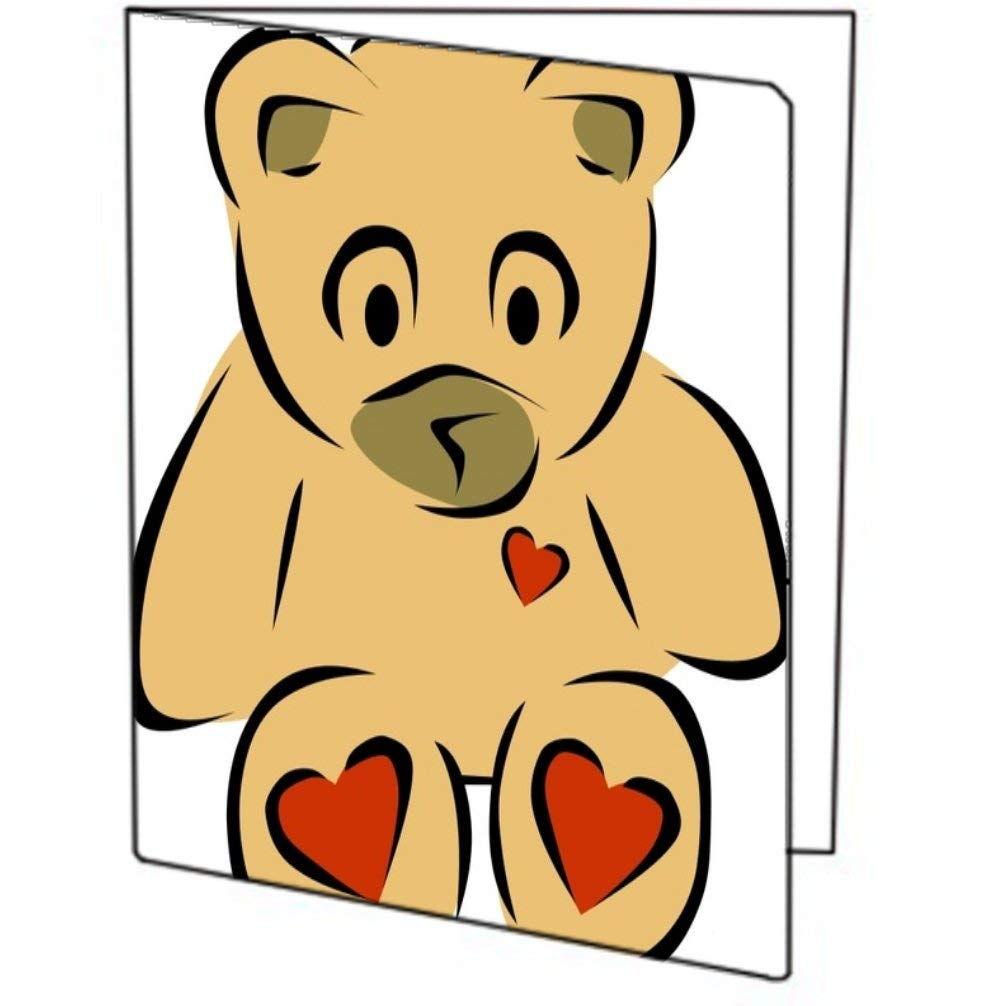 Vinyl Decal Printed Design Teddy Bear with Hearts THREE (3) PACK of Printed 9x12 Pocket Folders