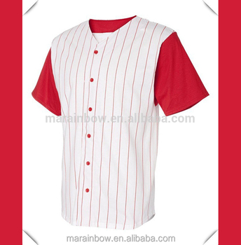 plain design blank white red pinstripe baseball jersey wholesale custom  made  023cce241