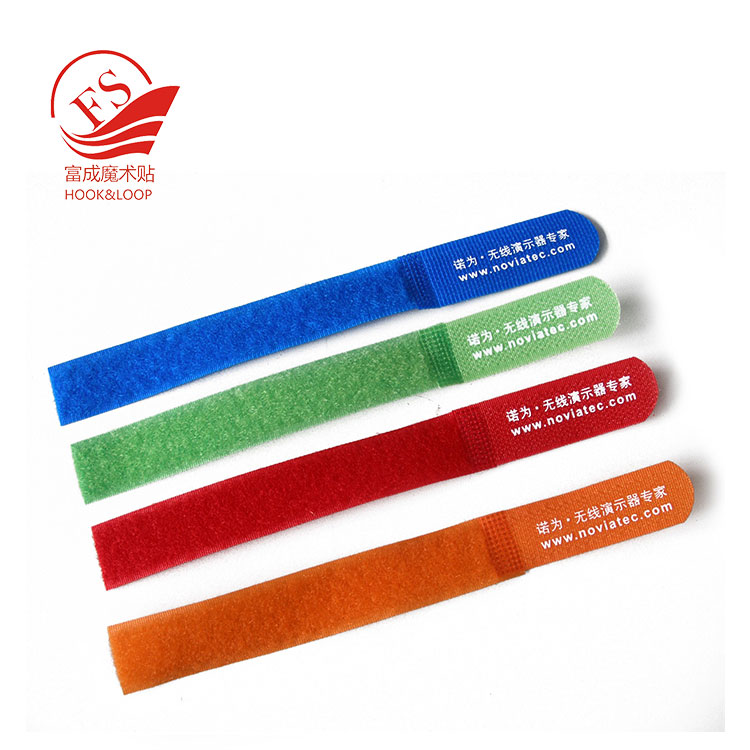High quality logo print magic tape key chain cable ties in straight liner