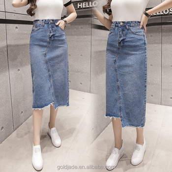 Wholesale Knee Length Denim Skirt Elastic Long Fishtail Women