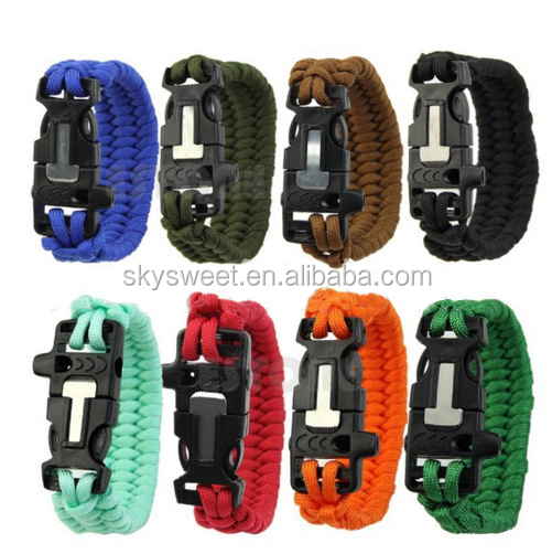 Stock many colors whistle blade logo available paracord bracelet supplier