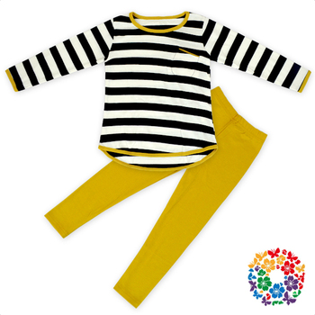 6f394b4073 Kids Girls Fall Cotton Long Sleeve Black And White Striped Shirt And  Mustard Pants Children's Boutique