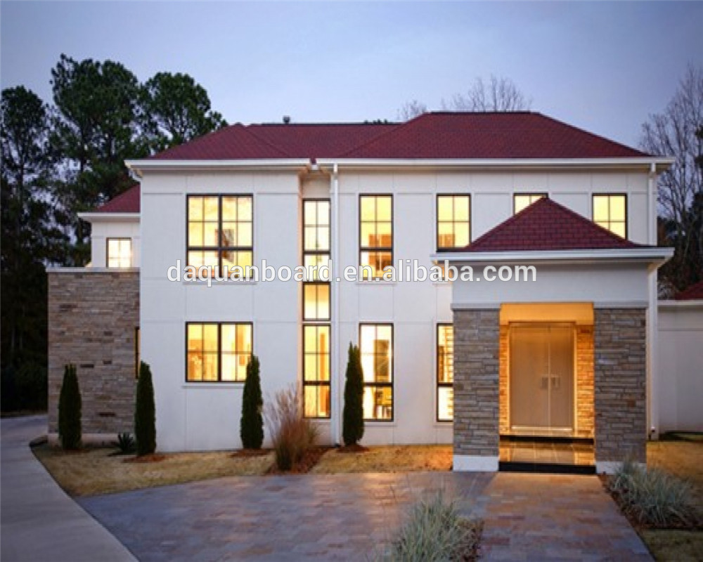 Cheap modern prefab house designs for kenya with exterior imitation stone paint