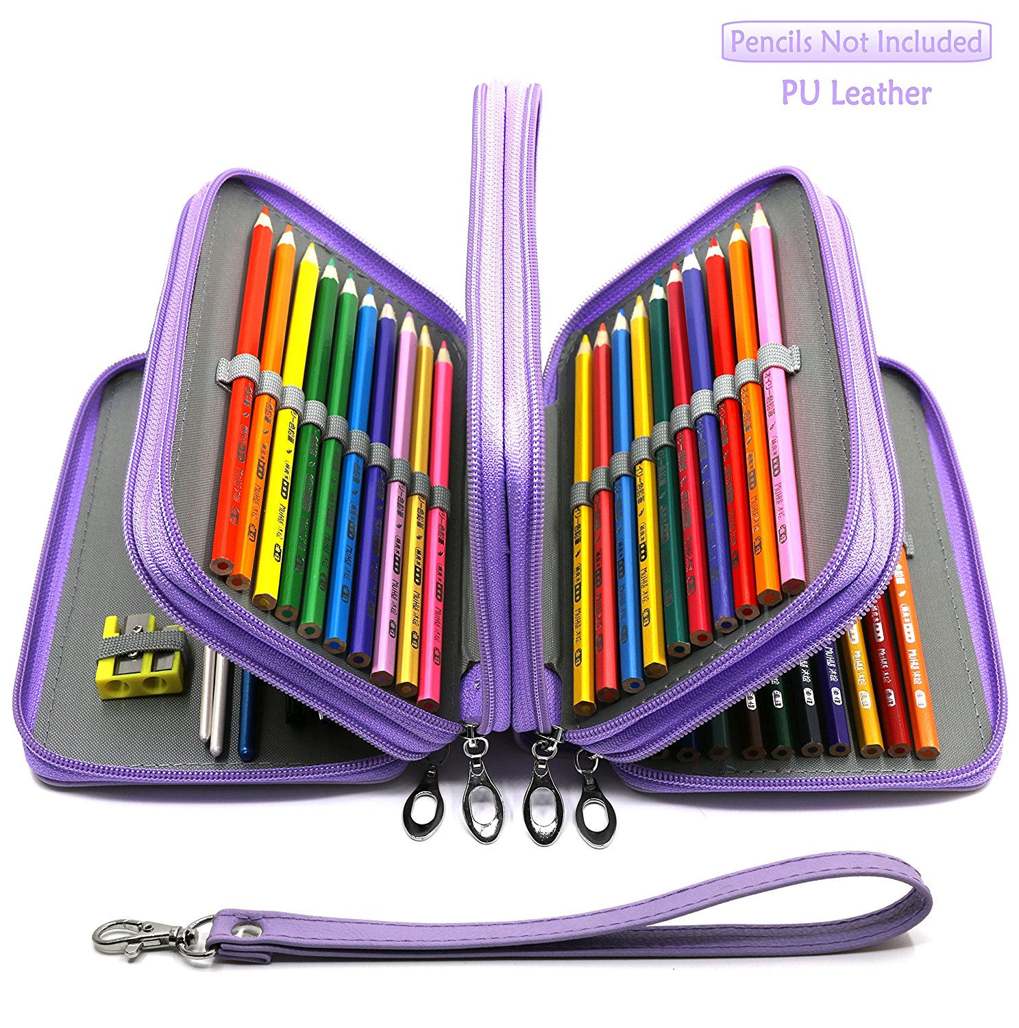YOUSHARES 72 Slots Pencil Case - PU Leather Handy Multi-layer Large Zipper Pen Bag with Handle Strap for Colored/Watercolor Pencils, Gel Pen, Makeup Brush, Small Marker and Sharpener (Purple)