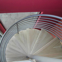 Wooden Spiral Staircase / Spiral Stair Kits With Stainless Steel Railing Designs