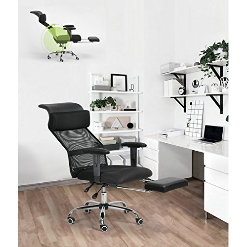 Black Executive Recliner Office Chair Mesh High Back Tilting Function Adjustable Swivel Home Computer Desk Chair Napping with Footrest