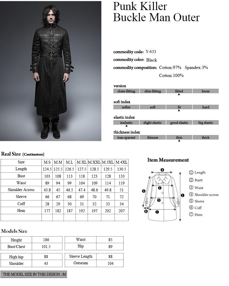 Uomo Cappotto Primavera Fresco 633 Y Da Punk Lungo Vampiro Fibbia B0Wwq0nrXc