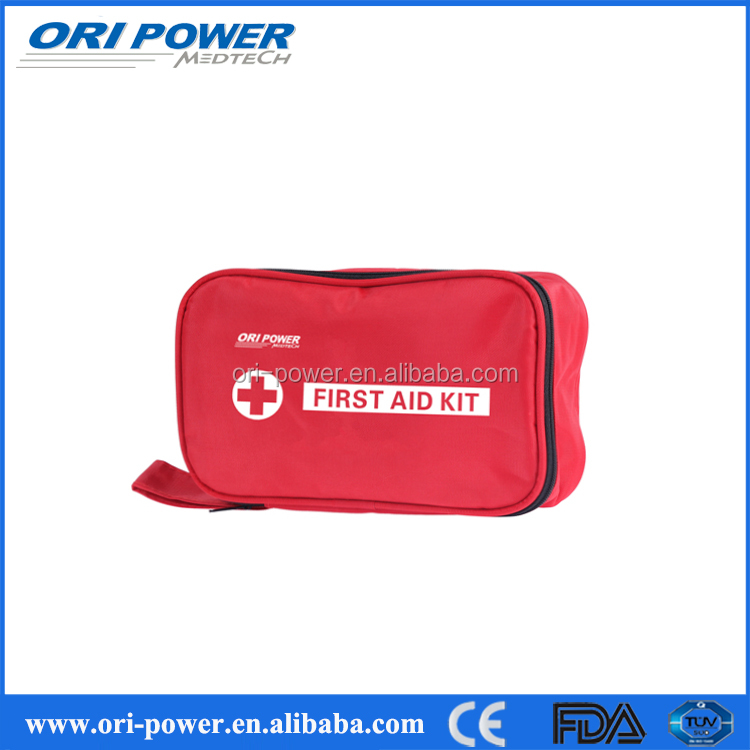 OP Promotional CE FDA ISO approved medium red nylon handbag travel first aid kit