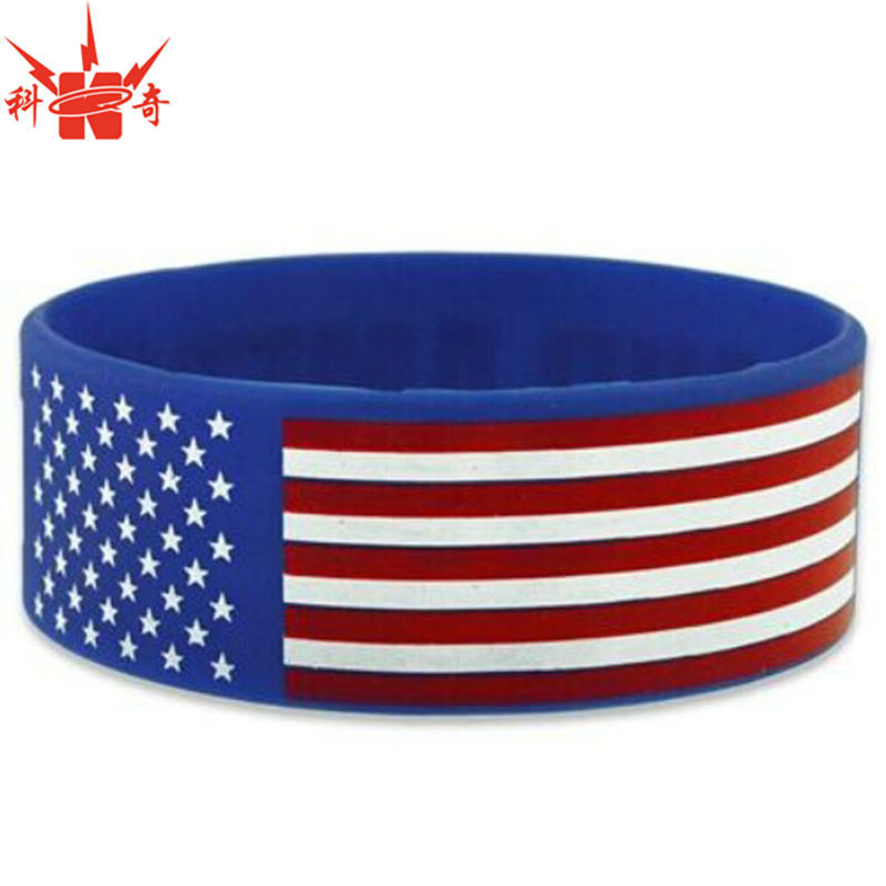 Printed Rubber Cancer American Flag Bracelet Product On Alibaba