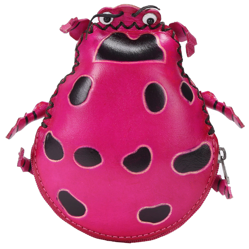 2014 New Cute Hand Made Genuine Leather Cartoon Animal Ladybug Small Keychain Coin Purse Wallet