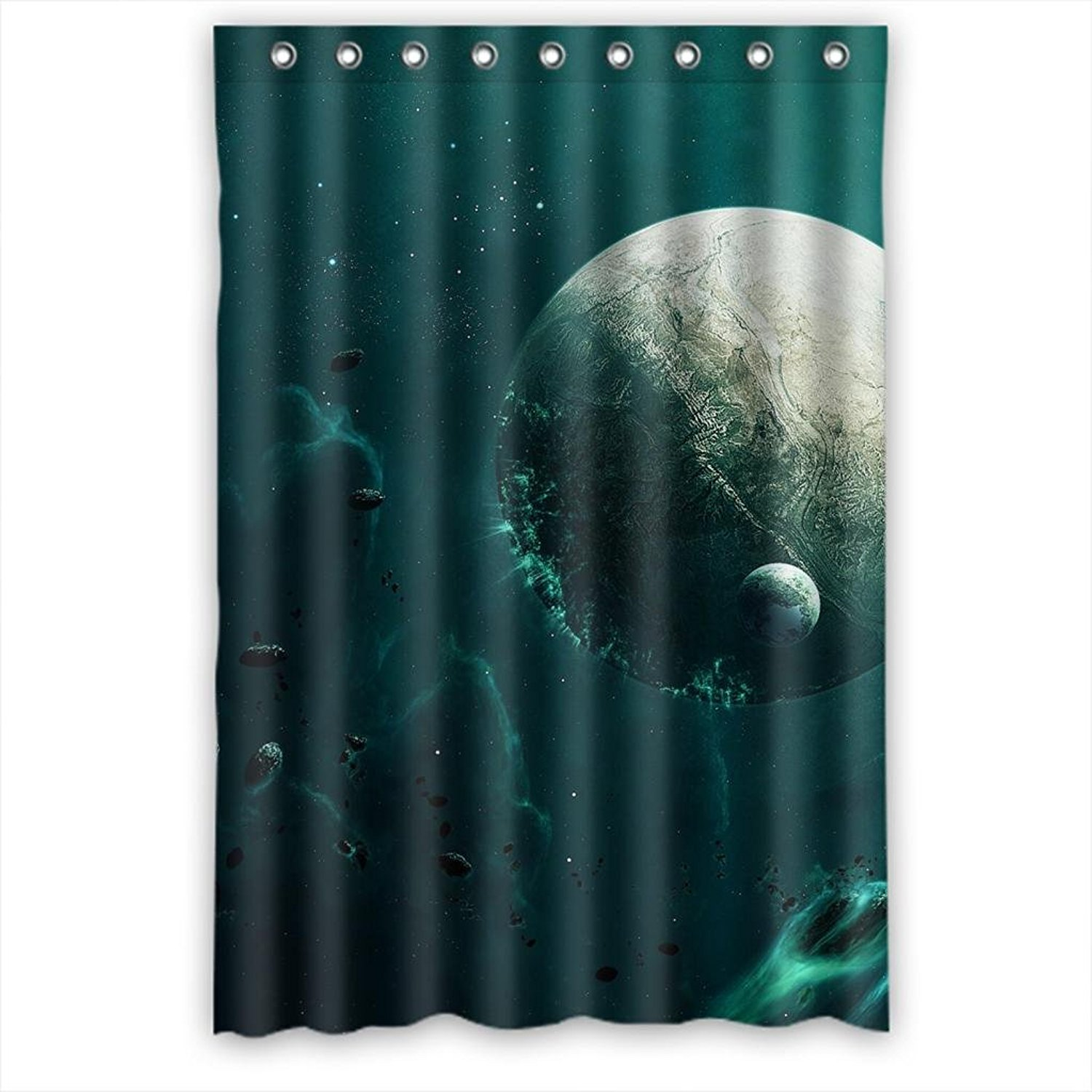 Get Quotations · Dark  Green Space Waterproof Fabric Shower Curtain  48(W)x72(H)