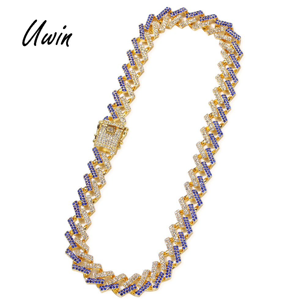 UWIN New Hiphop Two Tone Men Cuban Link Chain Colored <strong>Crystal</strong> Miami Necklace Custom Blue Black Bling Iced Out Necklace