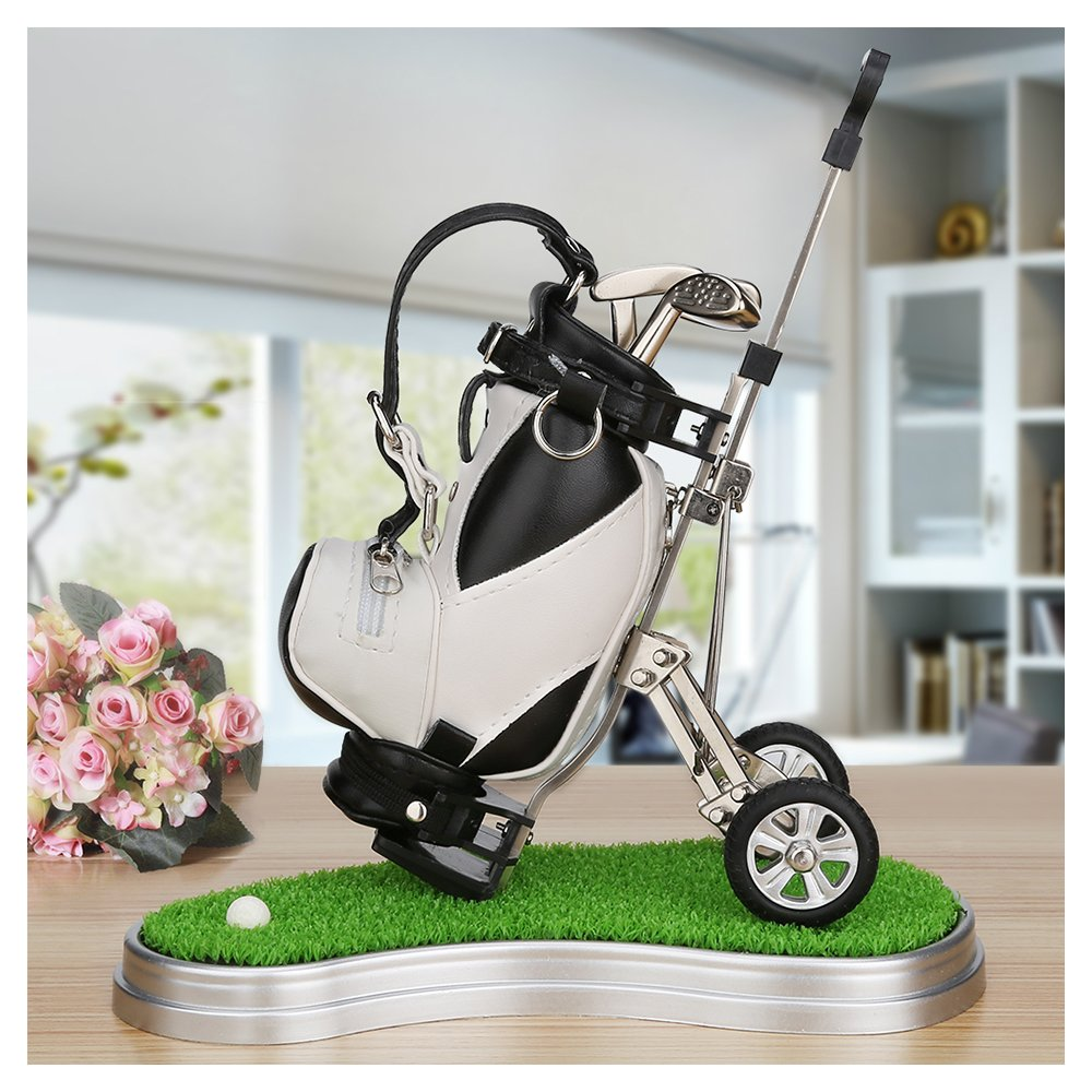 Golf Gifts Pen Holder With 3 Pens Bag Decorations Office Desk GiftsGolf