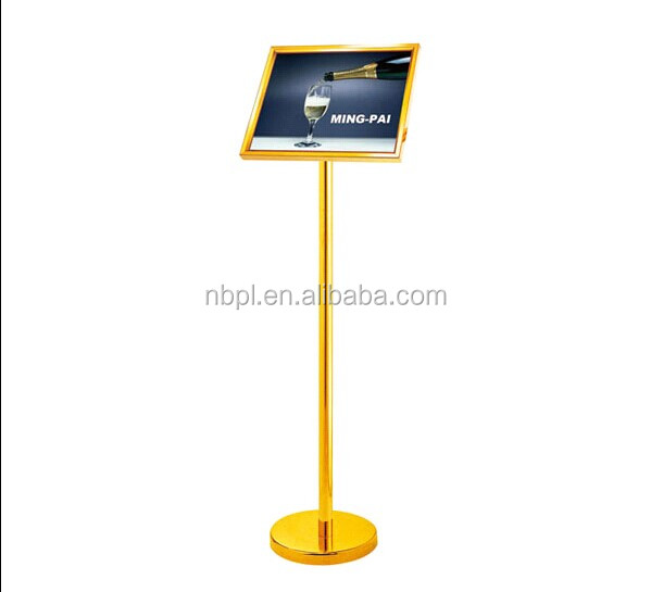 store aluminum photo frame stand display price advertising display menu stand for restaurants on adjustable height stand