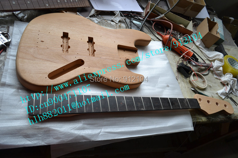 free shipping new unfinished electric bass guitar with mahogany body not painted foam box. Black Bedroom Furniture Sets. Home Design Ideas