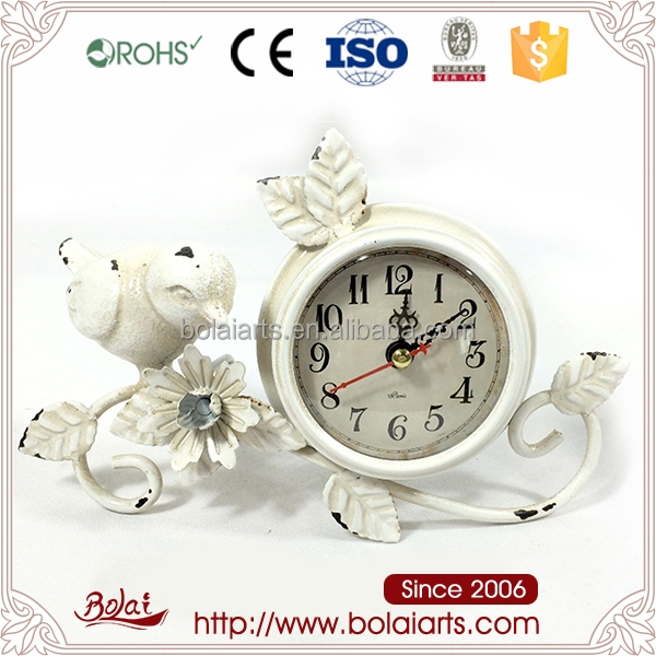Factory direct price kitchen decoration white bird shaped clock wholesale craft metal flower with BASIC certification